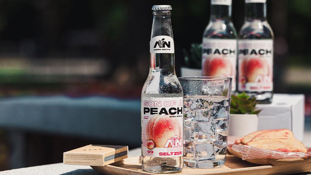 Amber Nectar Son Of A Peach hard seltzer